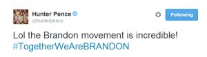 Twitter   hunterpence  Lol the Brandon movement is ...